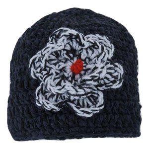 🆕Hand-Crocheted Black and White Flower Beanie Hat